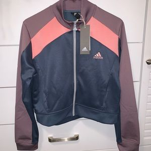 NWT adidas performance tracktop jacket blue & pink